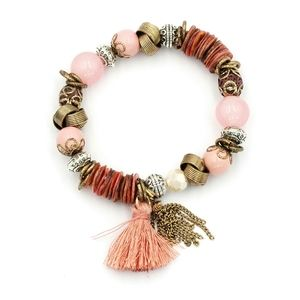 pink bead line tassel bracelet